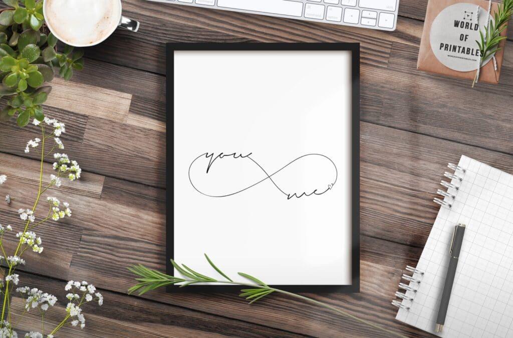 you and me infinity mockup - Printable Wall Art
