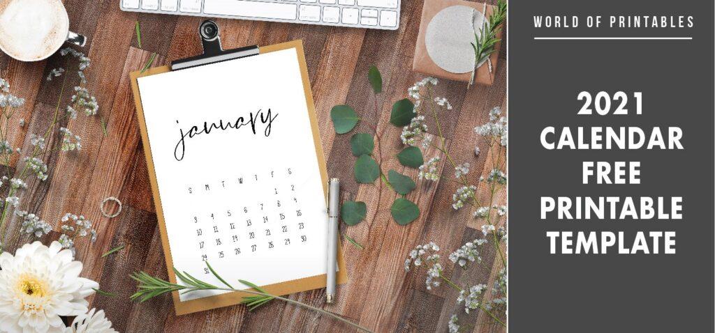 2021 Calendar Free Printable Template