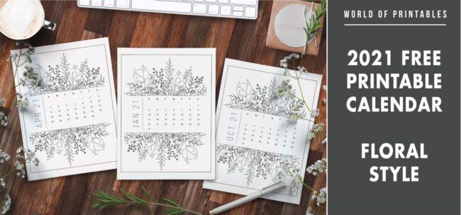 2021 free printable calendar floral style