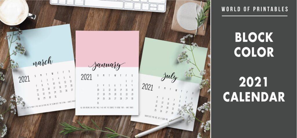 Block color 2021 calendar