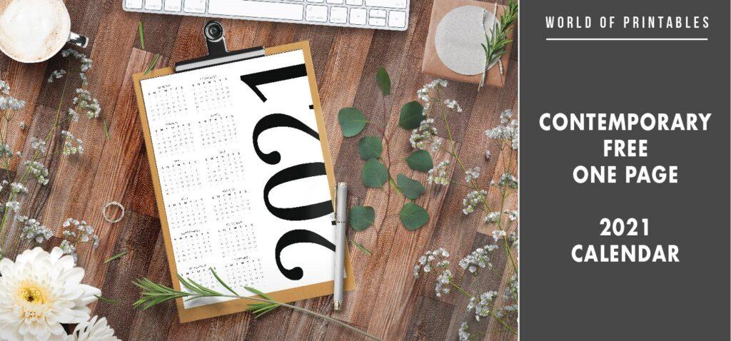 Contemporary Free One Page 2021 Calendar
