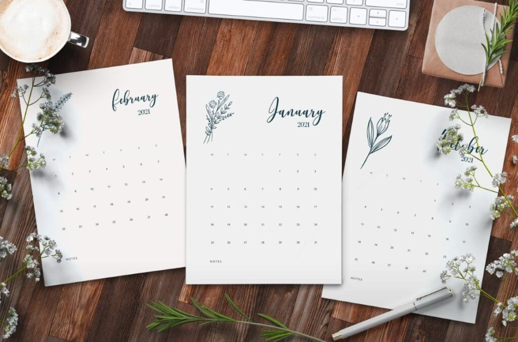 Free Printable Floral Calendar 2021