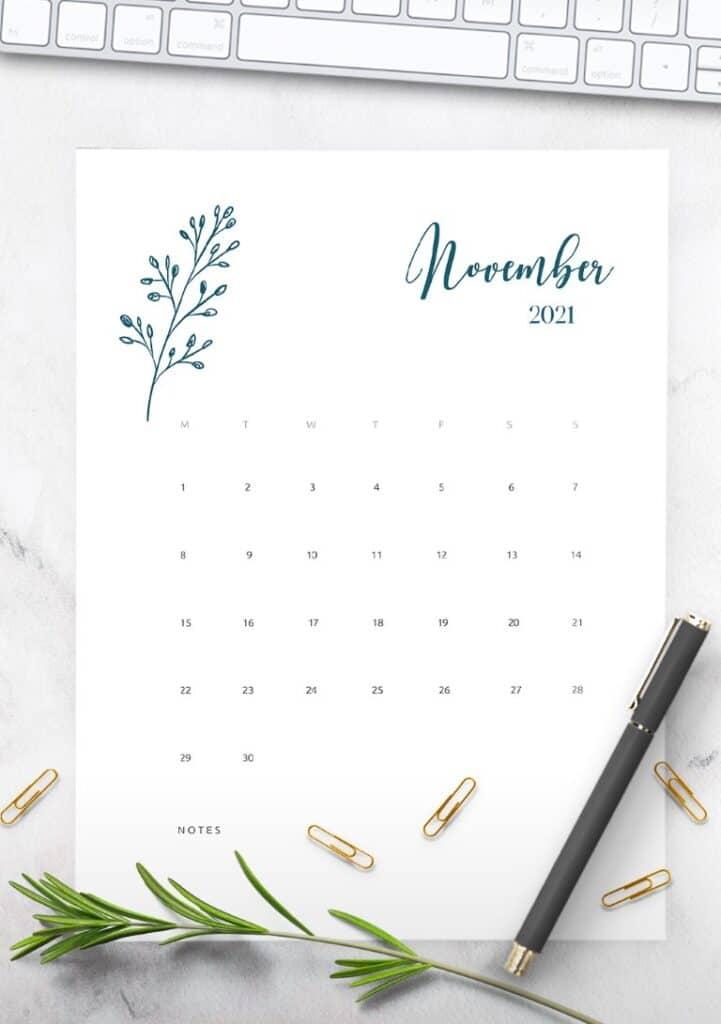 Floral Calendar 2021 Printable