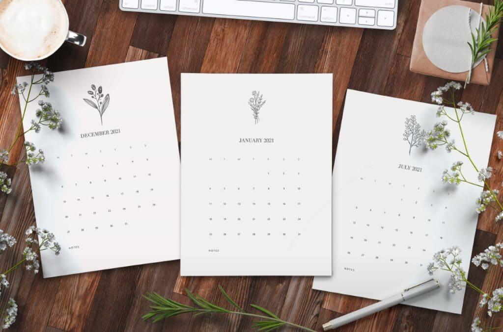 Free Free Floral Calendar 2021 Printable