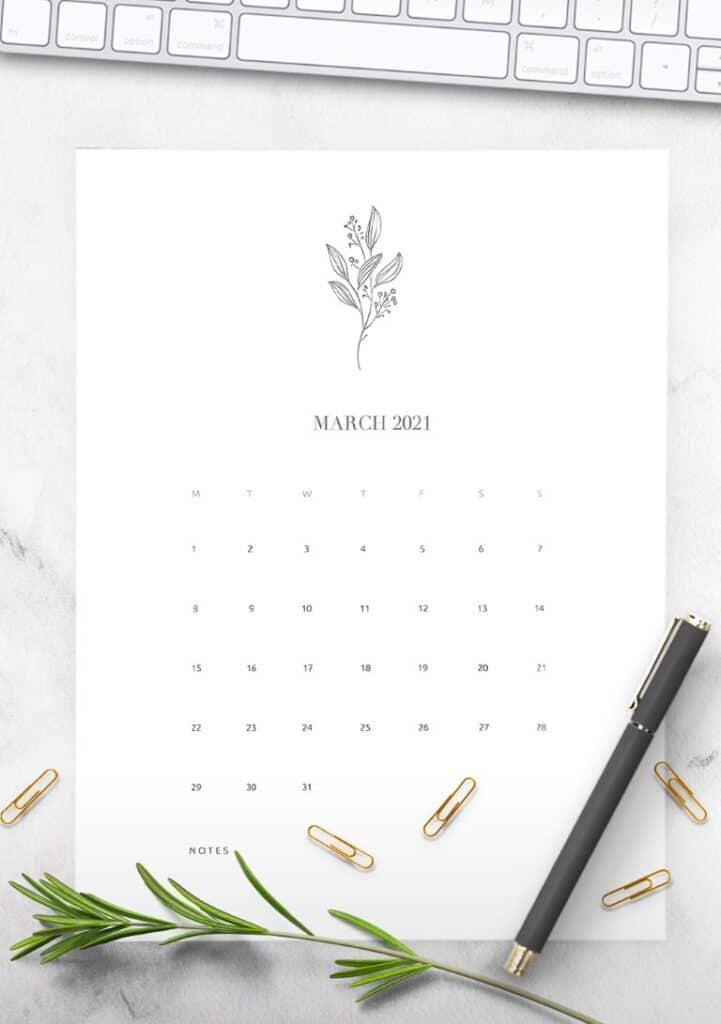 Free Floral Calendar 2021