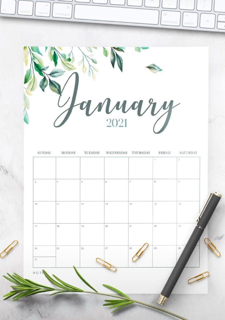Free Printable 2021 Calendar Botanical Style