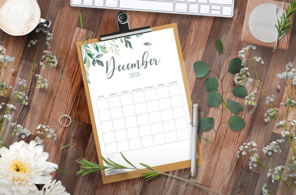 Calendar 2021 Printable Free Botanical Style