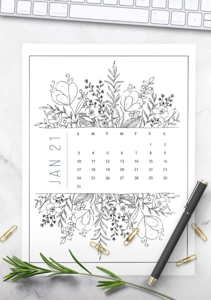 Free Printable Calendar 2021 - calendar 23 mockup 2