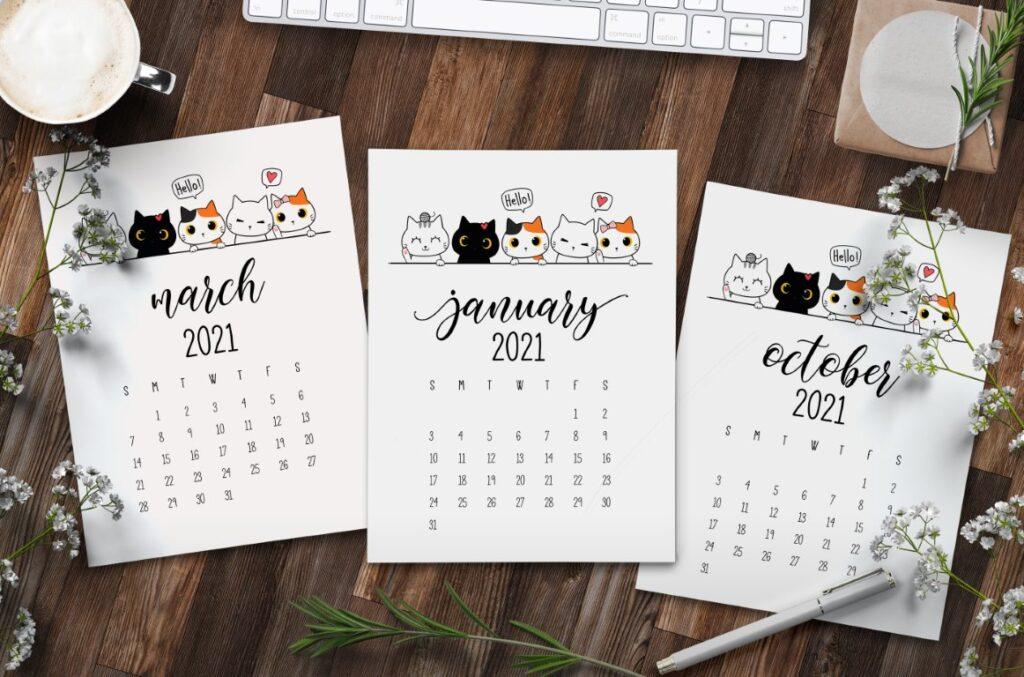 Free Printable Peeking Cats 2021 Calendar