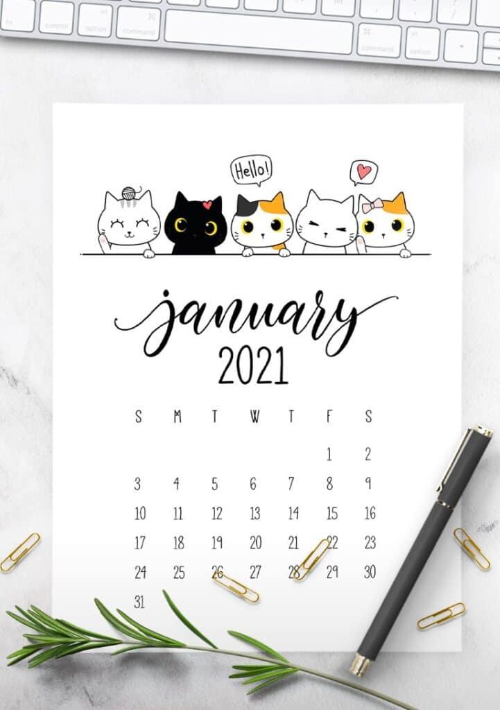 Peeking Cats 2021 Calendar