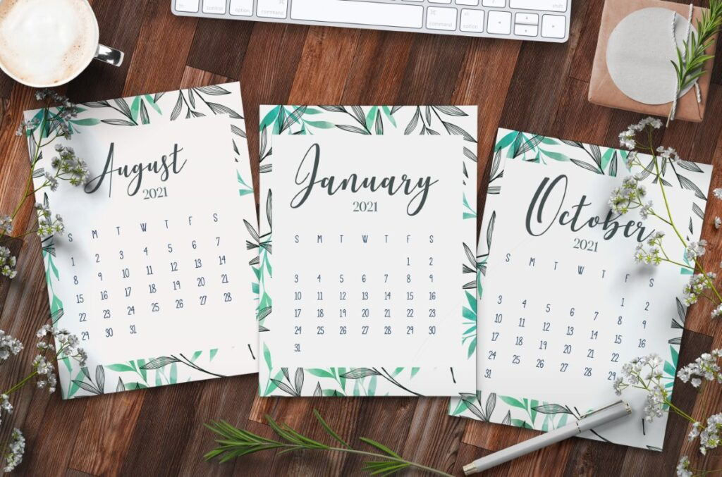 Free Printable 2021 Botanical Calendar Template