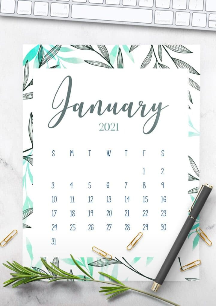 Free Printable 2021 Botanical Calendar
