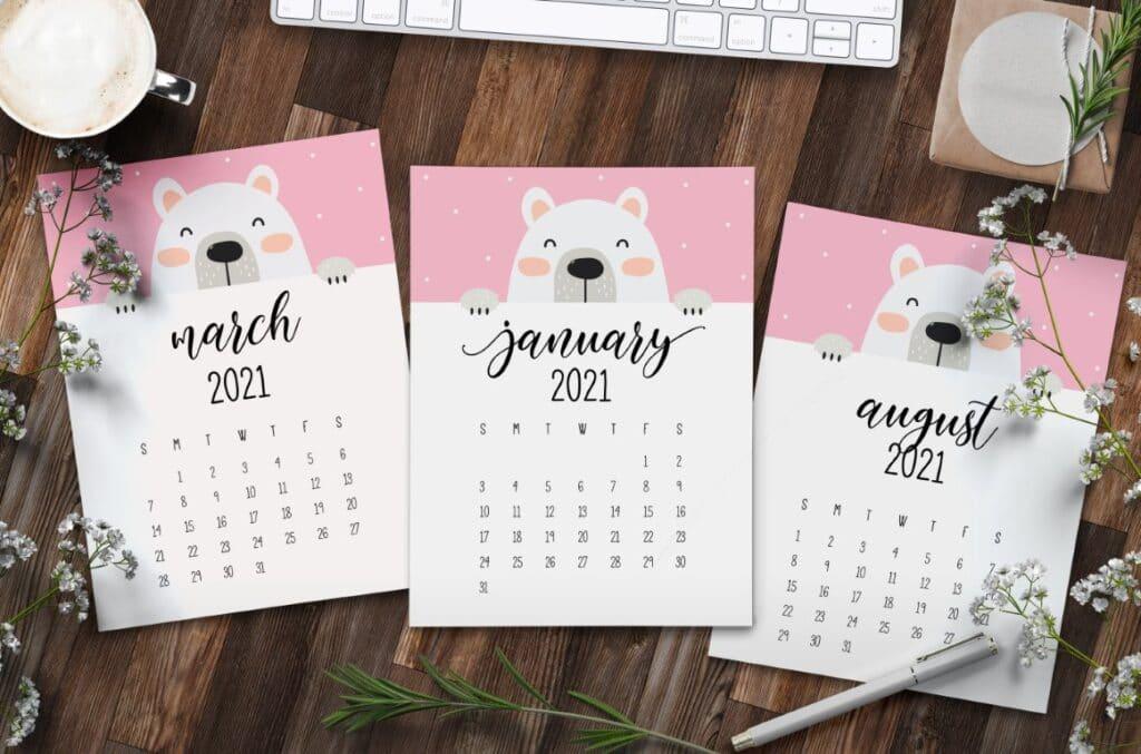 Cute Peeking Bear 2021 Calendar