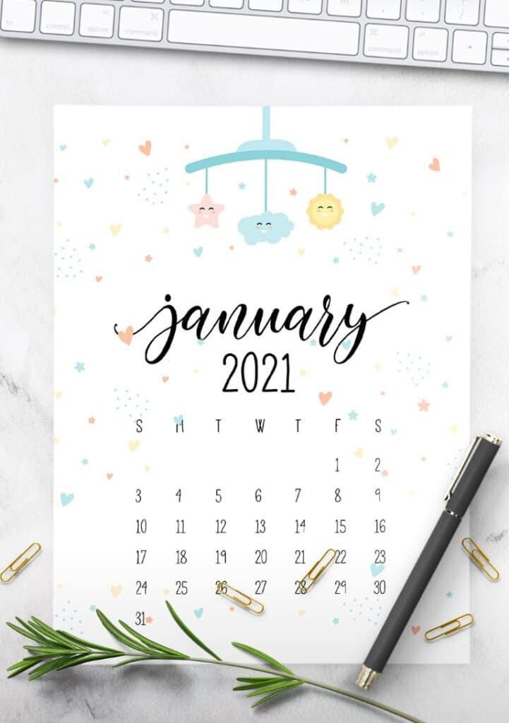 Cute Nursery Mobile Calendar 2021
