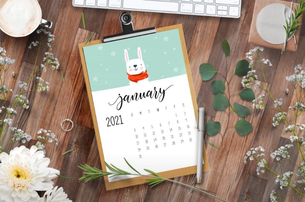 Cute Winter Animals Free 2021 Calendar Printable