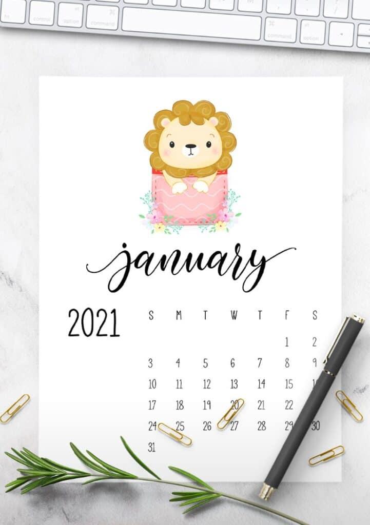 Free Cute Calendar 2021 Printable - Cute Animals