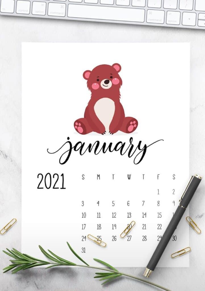 Forest Woodland Animals 2021 Calendar Printable