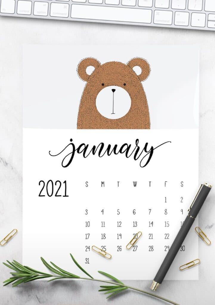 Cute Contemporary Peeking Animals 2021 Calendar