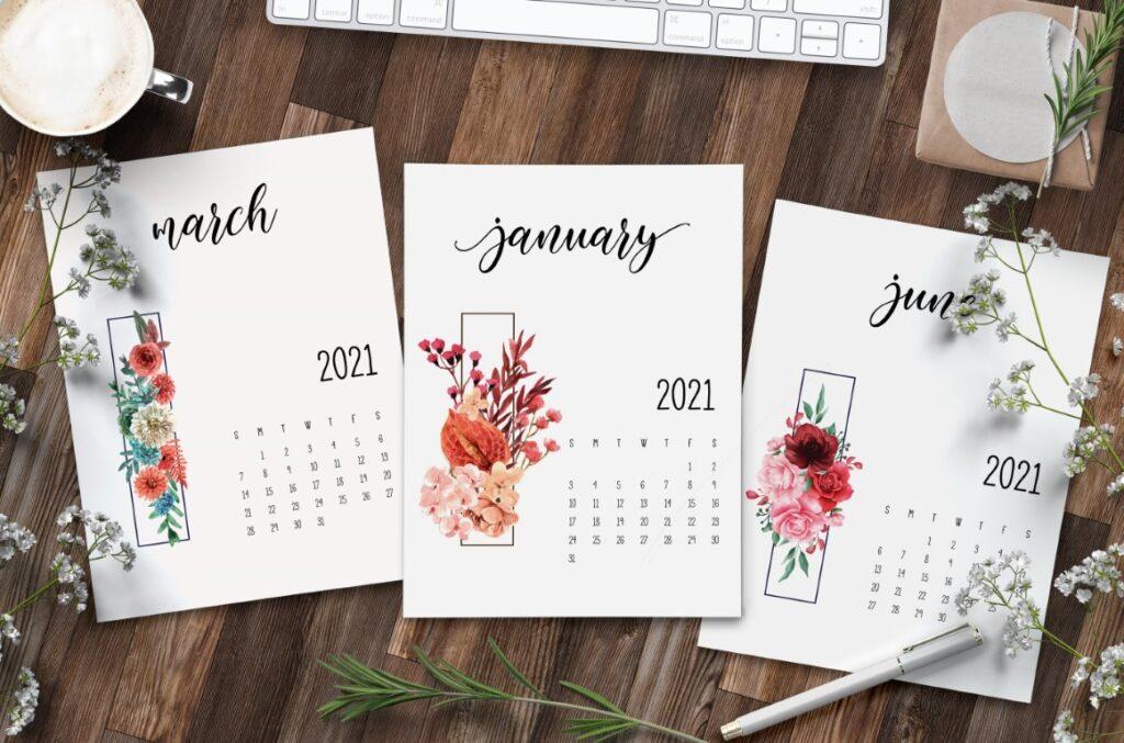 Free Floral 2021 Calendar Printable