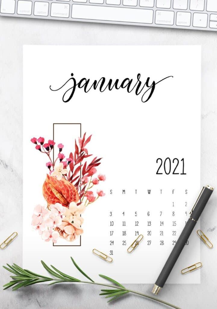 Floral 2021 Calendar Printable