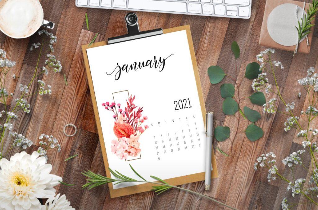 Floral Free Printable 2021 Calendar