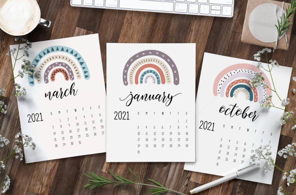 Free Printable Happy Rainbows 2021 Calendar