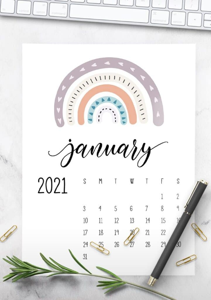 Happy Rainbows 2021 Calendar printable