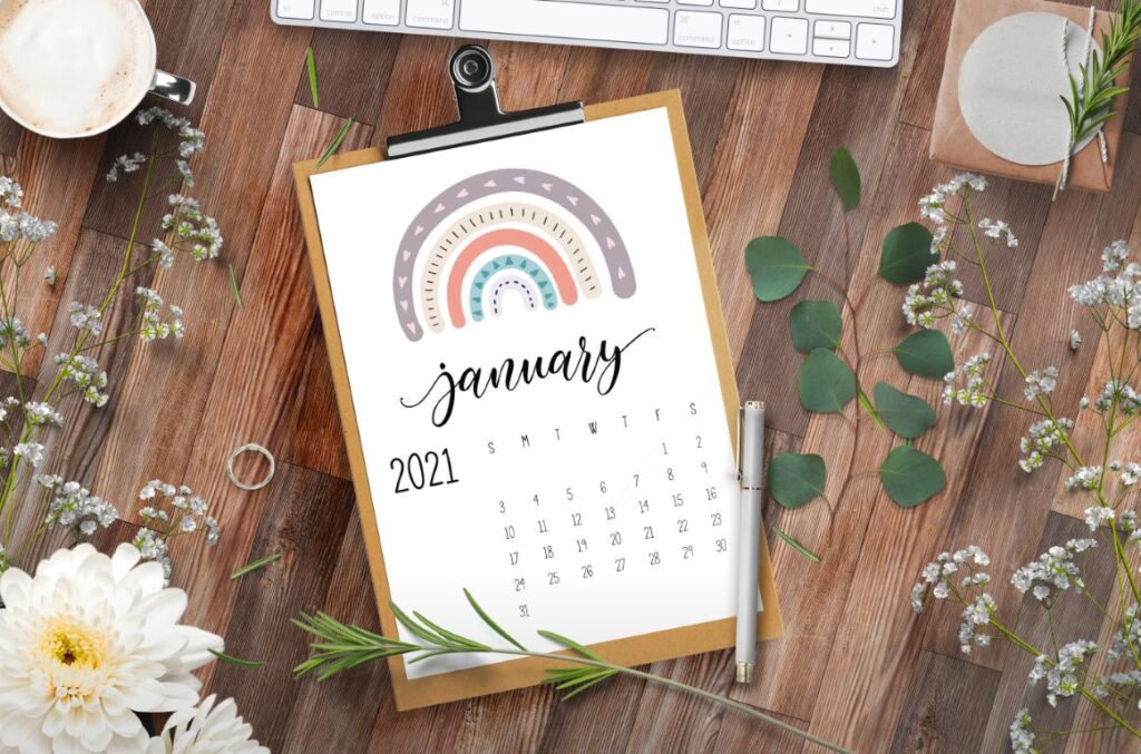 Happy Rainbows 2021 Calendar free printable