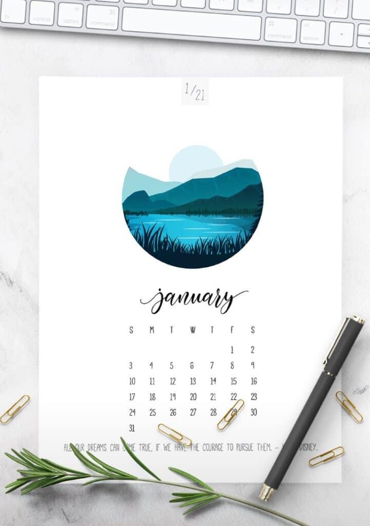 Free Printable Scenic 2021 Calendar