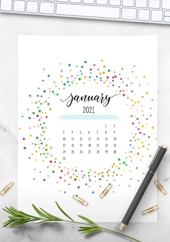 Colorful Free Printable 2021 Calendar