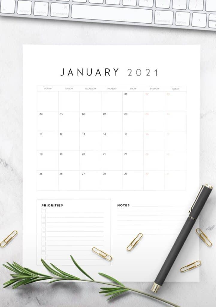 Free Printable Calendar 2021 - calendar 64 mockup 2