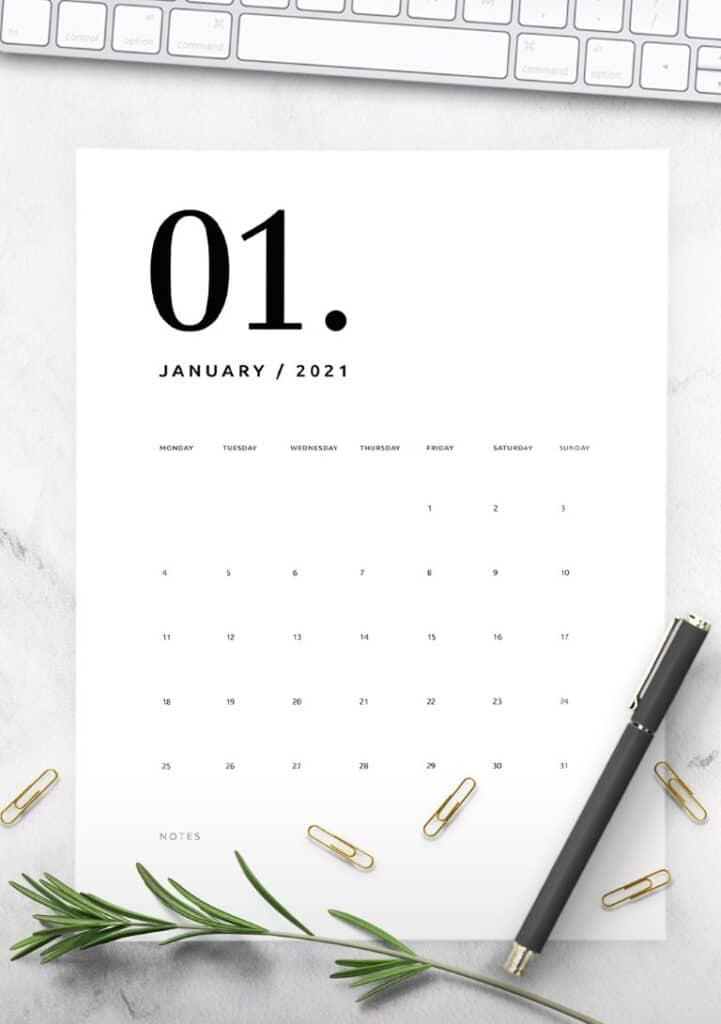 Free Printable Calendar 2021 - calendar 65 mockup 2