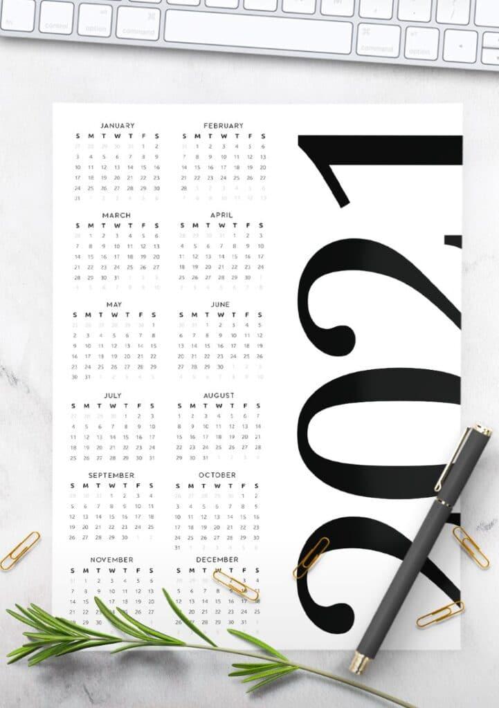 Contemporary Free One Page 2021 Calendar Printable