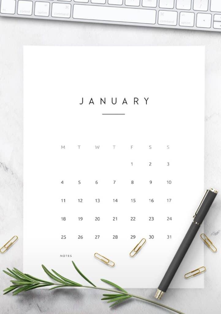 Free Printable Contemporary 2021 Calendar