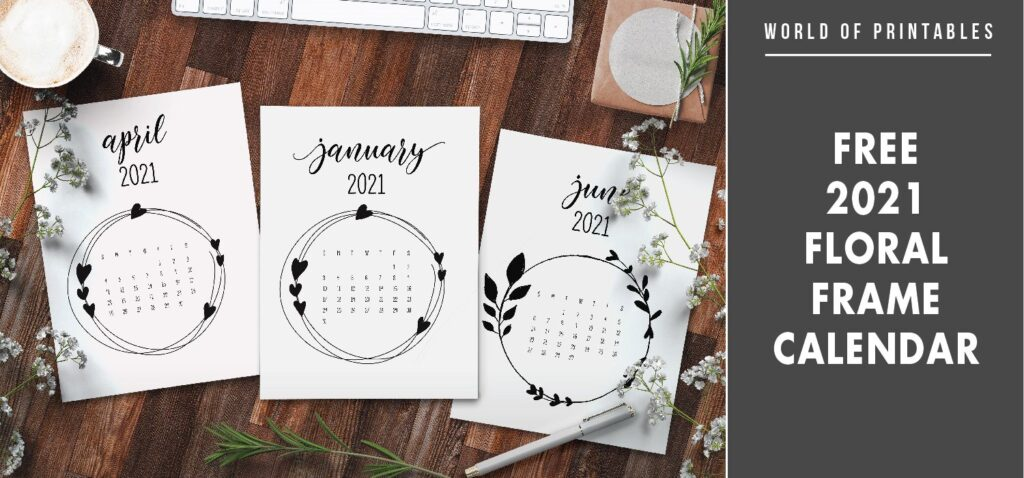 free 2021 floral frame calendar