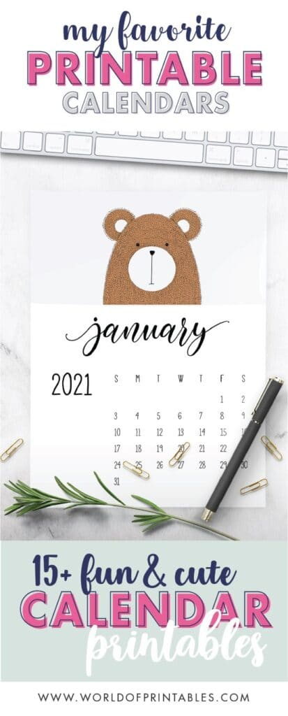 15 free fun and cute childrens calendars free printable 2021-01 - World of Printables