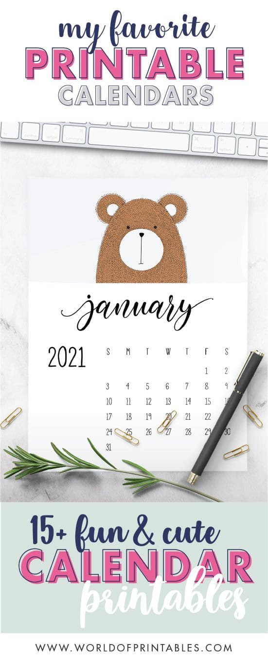 15 free fun and cute childrens calendars free printable 2021 - World of Printables