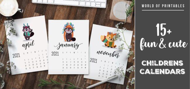 15 fun and cute childrens calendars 2021-01 - WOP