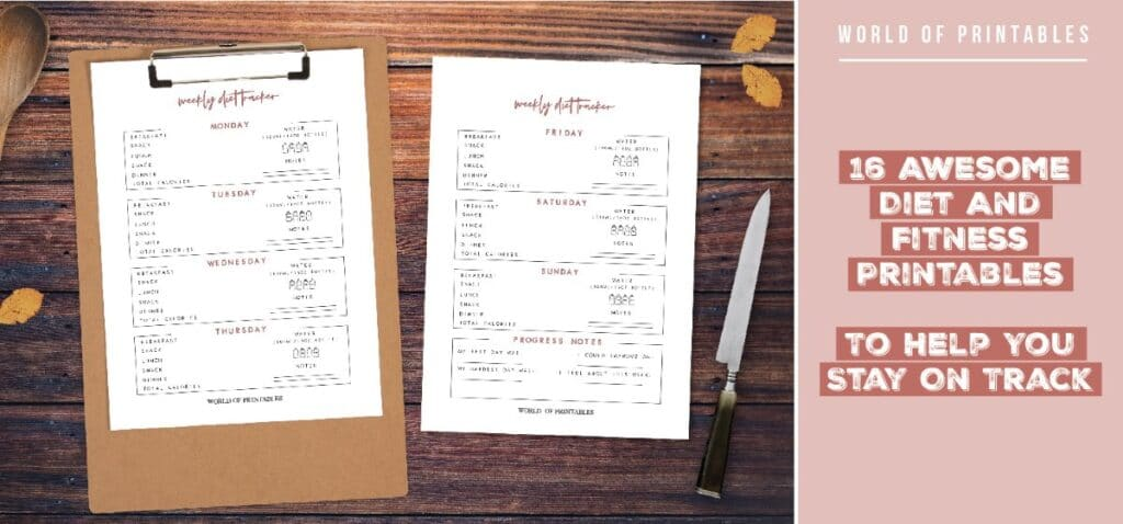 16 Awesome Diet And Fitness Printables