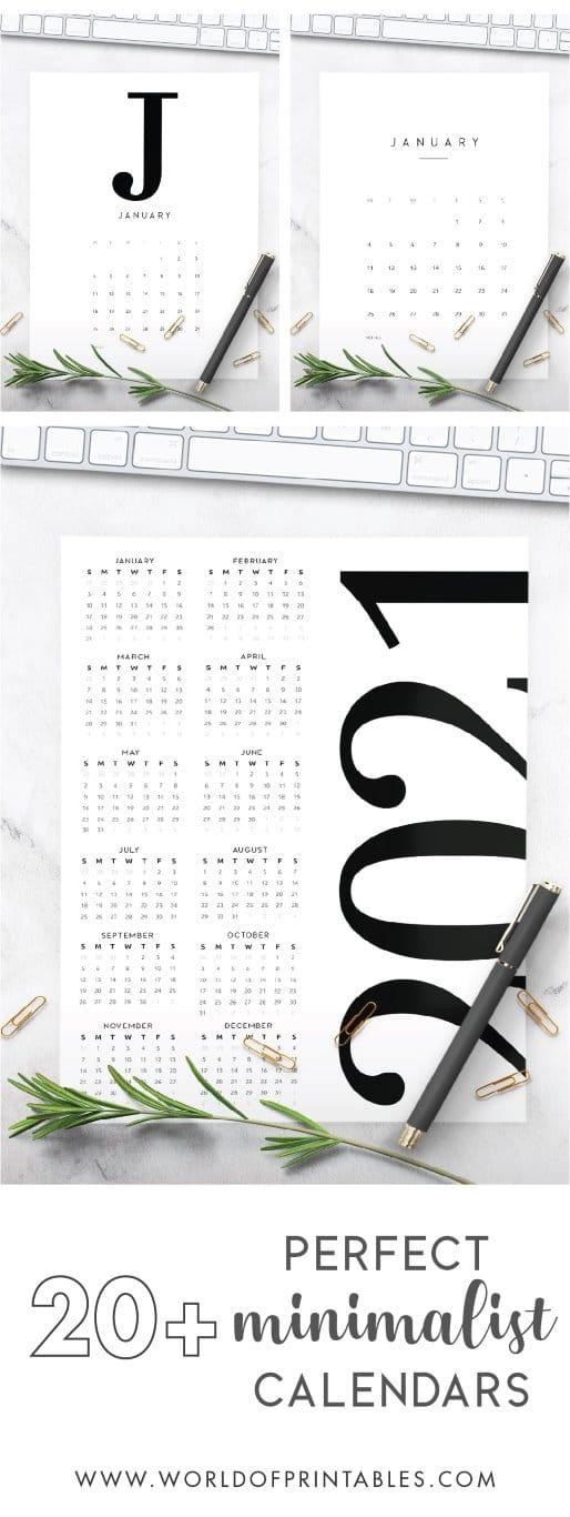20+ Perfect Minimalist 2021 Calendar Printable Designs!