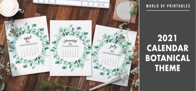 2021 Calendar Botanical Theme