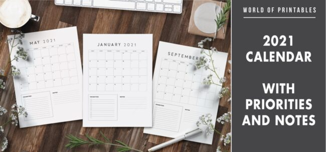 2021 Calendar with priorities and notes
