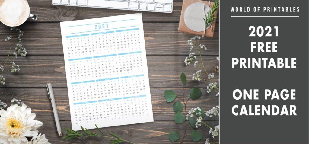 2021 Free Printable One Page Calendar