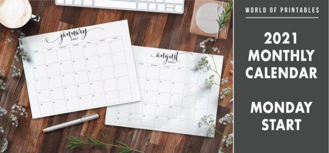 2021 Monthly Calendar Monday Start