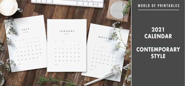 2021 calendar contemporary style