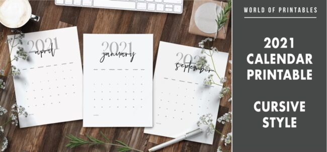 2021 calendar printable Cursive