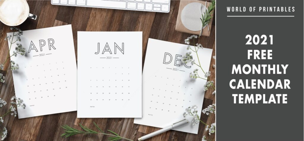 2021 free monthly calendar template