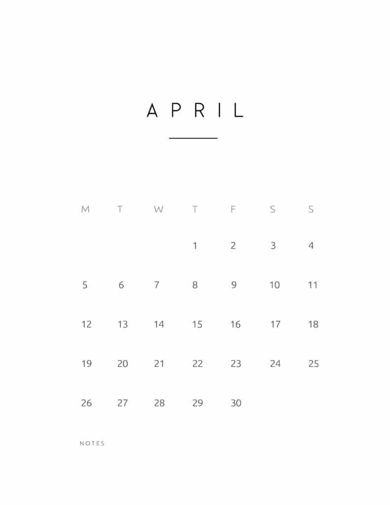 April 2021 Calendar Contemporary Style