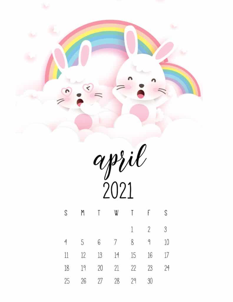 April 2021 Calendar Cute Rabbits And Rainbows