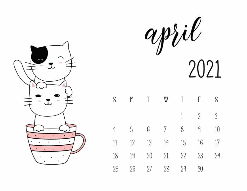 April 2021 Calendar Kittens in Tea Cups
